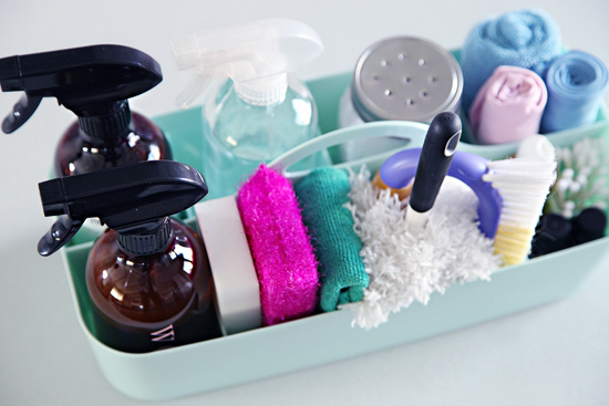 Professional house cleaners assemble the perfect cleaning caddy