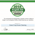 Green Frog House Cleaning Earns 2018 Angie's List Super Service Award