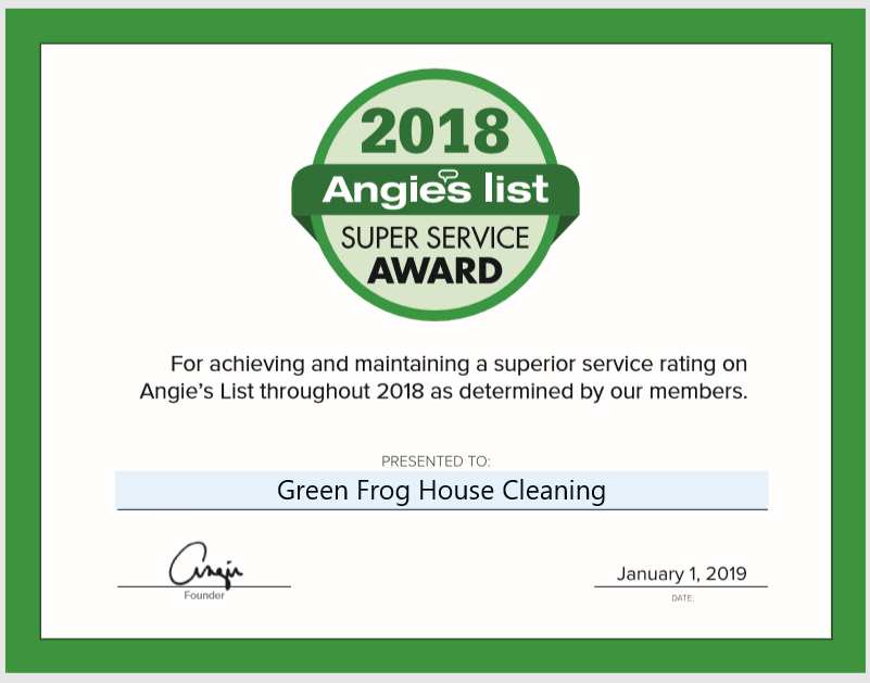 Green Frog House Cleaning Earns 2018 Angie S List Super